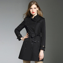 England style womens black Trench coats New 2018 autumn runway double breasted windbreaker coat D529
