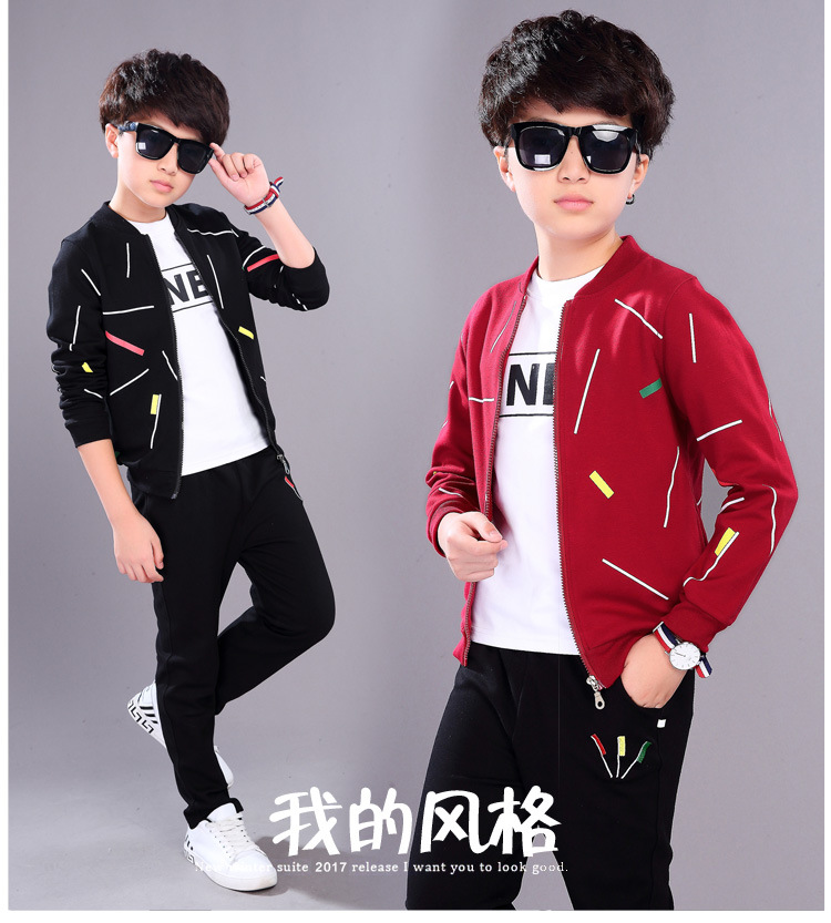2017 Autumn Children Casual Tracksuit Set Hooded Coat + Pants Kids Boy Baby Spring Autumn Clothes Sports Suit 5 7 9 11 13 Years spring children sports suit tracksuit for girls kids clothes sports suit boy children clothing set casual kids tracksuit set 596 page 3