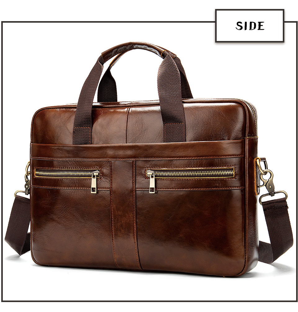 photo showing a leather briefcase in coffee color