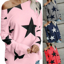 2019 summer Women's Casual Printed Pullover Shirt  Ladies Loose Long Sleeve Star Print T-Shirt Office Lady Plus Size недорого
