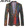 2016 New Men Floral Blazers Fashion Casual Costume Homme Masculino T0019