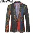 2016 nuevos hombres Blazers florales moda Casual traje Homme Masculino T0019