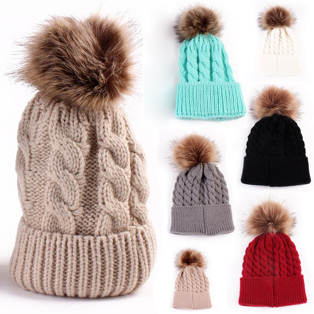 1Pcs Fashion Women Autumn Winter Warm Hat Knitting Wool Cap Soft Crochet Knitted Wool Fur   Beanie   Pompom Ball Adjustable Hat