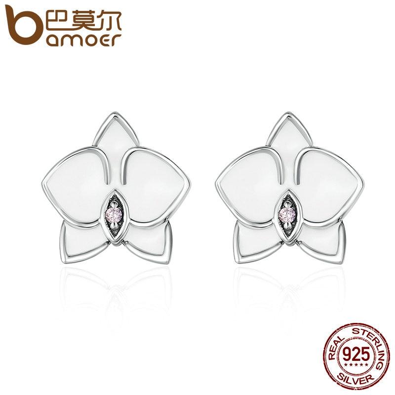 BAMOER Authentic 925 Sterling Silver White Orchid White Enamel & Pink CZ Stud Earrings for Women Fine Jewelry Bijoux PAS515 недорго, оригинальная цена