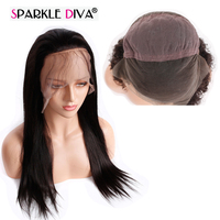 Sparkle Diva Indian Straight Remy Human Hair Natural Color Medium Brown Swiss Lace 10 24 Inch Long Length Hair Wig Shipping Free