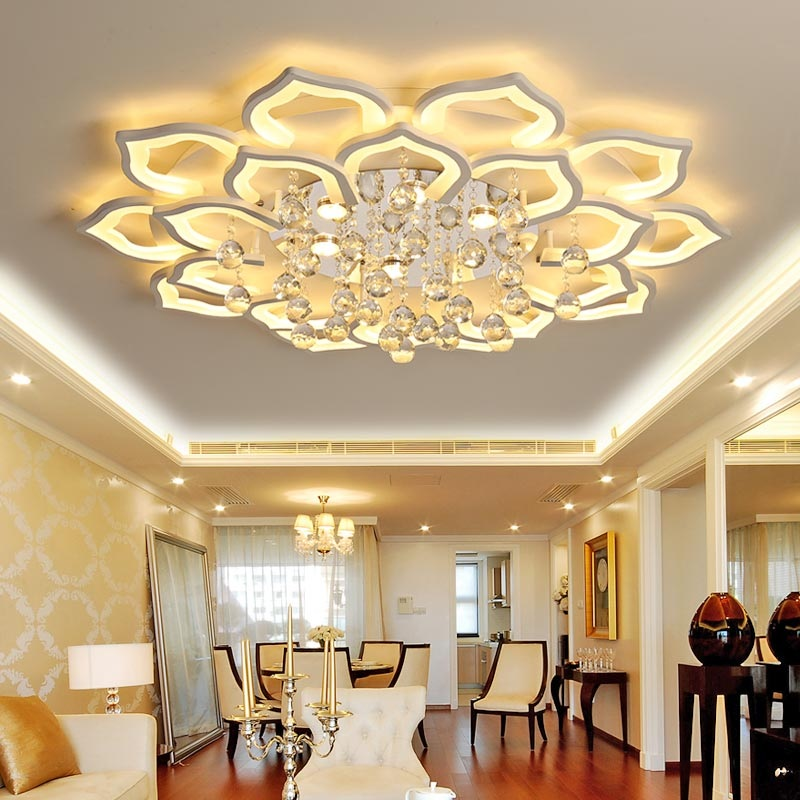Creative Lotus Acrylic Crystal LED Ceiling Lights Living room bedroom study dining room ceiling lamp Commercial Lighting fixture