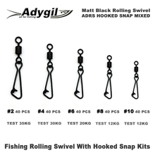 Adygil Matt Black Fishing Rolling Swivel With Hooked Snap Kits ADRS HOOKED SNAP MIXED #2 #4 #6 #8 #10 200pcs/lot