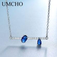 UMCHO hakiki 925 gümüş takı düzensiz Oval oluşturulan mavi safir zincirler kolye kolye kadınlar için nişan hediyeler