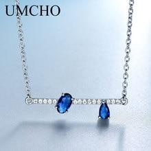 Umcho 정품 925 실버 쥬얼리 불규칙한 타원형 블루 사파이어 체인 목걸이 펜던트 여성용 약혼 선물