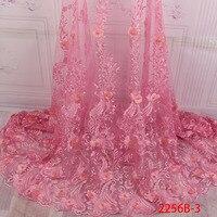 Hot Sale Nigerian Laces Fabric 2018 African Fabrics High Quality Nigerian 3D Flowers Lace Fabric For Wedding Dress XZ2256B 2
