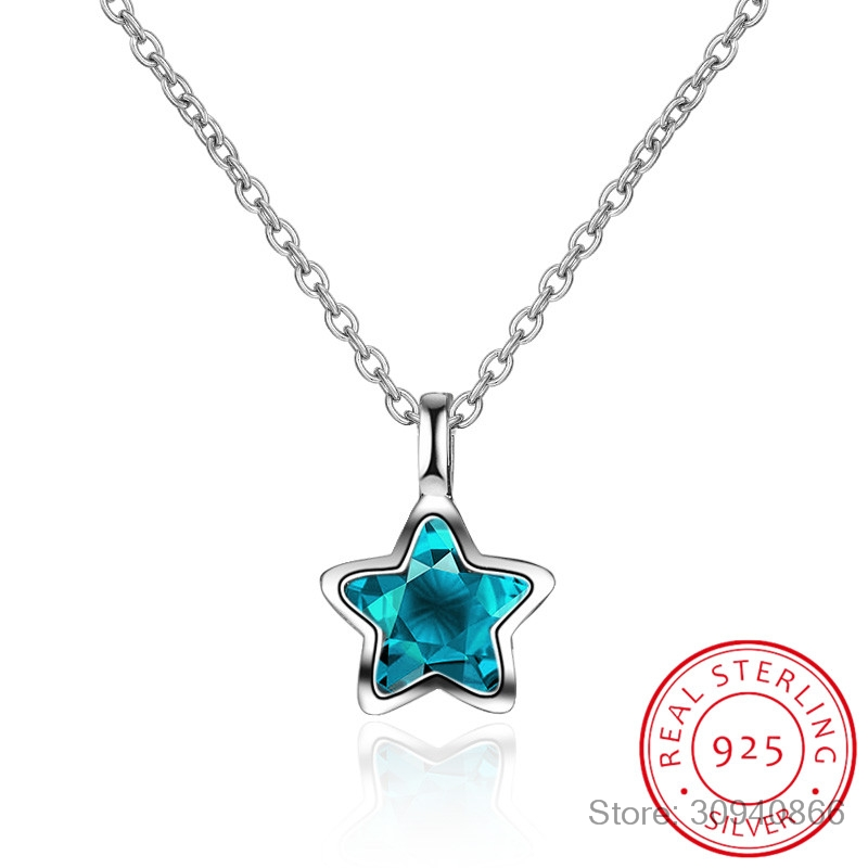 New Simple Fashion Ocean Blue Crystal Little Star Necklace For Women Girl 925 Sterling Silver Jewelry S-N246