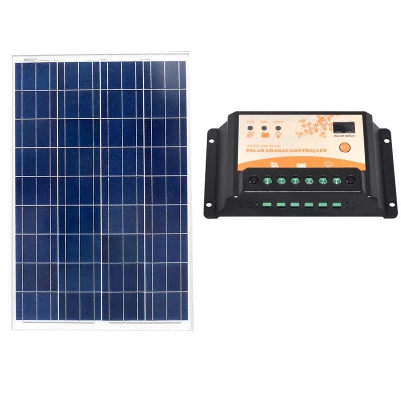 Solar Panel 100w 12V Poly Solar Module Plate Mini Off Grid Solar Power System Solar Controller Charger  PWM 20A  SFP100 W