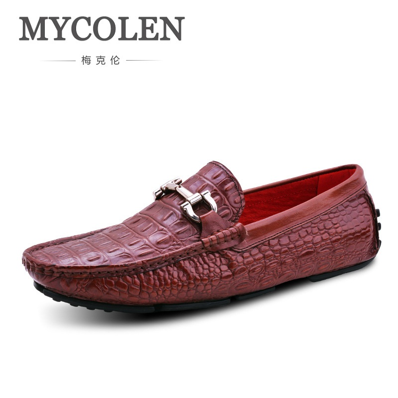 MYCOLEN Men Leather Shoes Genuine Leather Men Driving Shoes Luxury Brand Crocodile Skin Leather Shoes zapatillas hombre casual new fashion men luxury brand casual shoes men non slip breathable genuine leather casual shoes ankle boots zapatos hombre 3s88