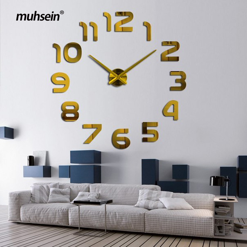 2019 New Metall Moderne 3D DIY Wall Watch აკრილის + EVR + Metal Mirror სახლის მორთულობა Super Big 130cm X130 Cm Factory Freeshipping