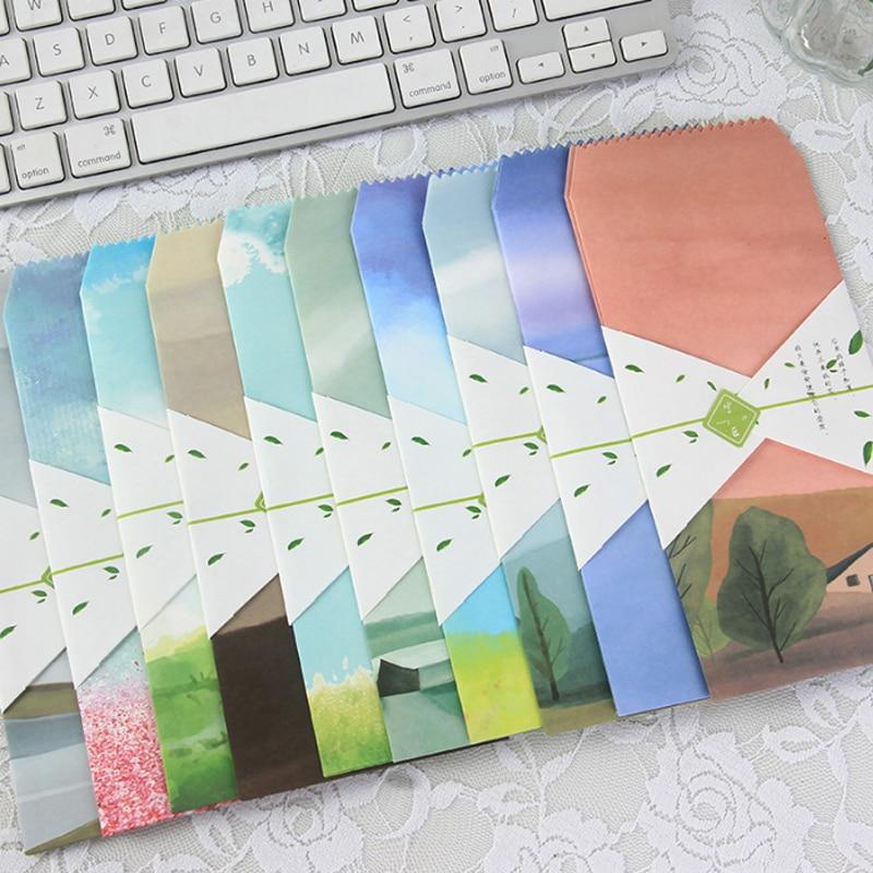 Mail & Shipping Supplies Romantic 5pcs/lot Cute Idyllic Landscape Envelopes Letterhead Office Writing Paper Stationery Kawaii Birthday Christmas Card Envelopes