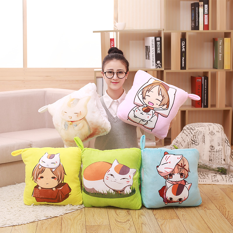 1pcs Big Size Natsume Yuujinchou Nyanko Sensei Plush Pillow Blanket Cat Anime Multifunction Pillow Doll Toy Christmas Gift new hot 16cm natsume yuujinchou cat nyanko sensei action figure toys collection christmas gift