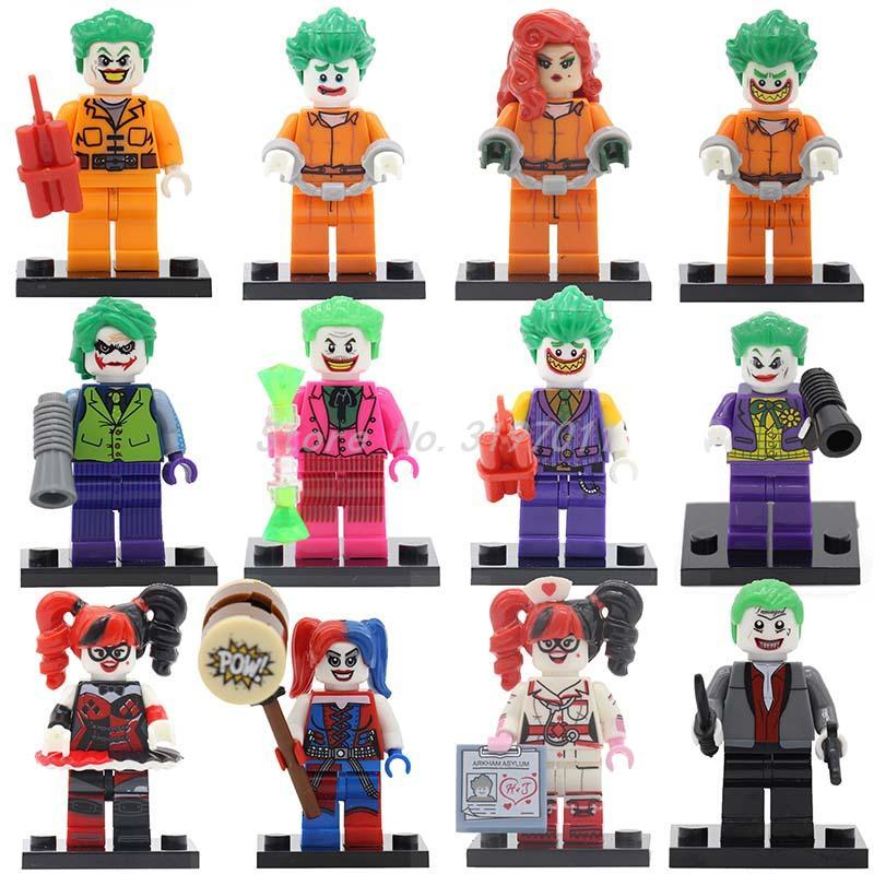 Joker Batman Figure Suicide Squad Harley Quinn Villain Building Blocks Set Bricks Classic Super Hero Kid Toy Compatible Legoedly single sale dc super hero batman figure keychain joker suicide squad scarecrow poison ivy key ring building block models toys