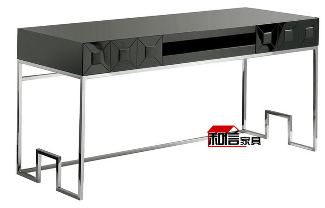 Vernice nera ikea scrivania desktop di casa computer scrivania elegante minimalista moderno - Tavolo computer ikea ...