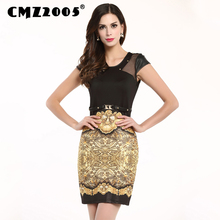 Hot Sale Women's Apparel High-quality Short-sleeve Print Lace decoration Fashion Sexy Mini Summer Dress Personality Dresses 883