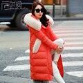 Pato blanco abajo abajo chaqueta Más Reciente de Corea Casual Mujeres de Gran tamaño Grueso Abrigo de invierno Cálido Con Capucha Fox cuello de piel Down jacket G0551