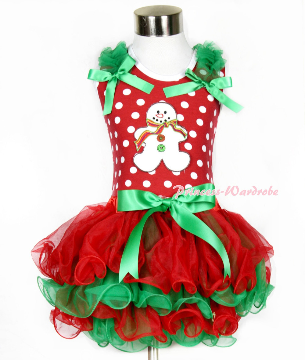 Xmas Minnie Dots Tank Top Kelly Green Ruffles Kelly Green Bow Christmas Gingerbread Snowman Red Green Petal Pettiskirt MAMH093 christmas hat reindeer white top minnie dots petal pettiskirt girls outfit nb 8y