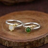 FNJ 925 Bạc Jasper Ring cho Phụ Nữ Jewelry Trắng Jade Mã Não đỏ Original Tinh Khiết S925 Bạc Sterling Sen Vòng Điều Chỉnh kích thước