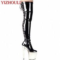 2e24091c805 20cm High Heel Over Knee Pole Dancing Boots Black Thigh High Boots Fetish 8  Inch Platform