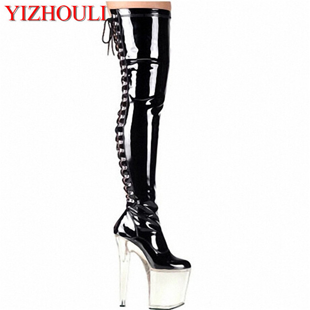 752c4b293e 20cm High Heel over knee pole dancing boots black thigh high boots fetish 8  inch platform high heel boots sexy women tall boots