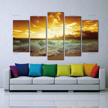Canvas Painting Pictures a5 Piece Yellow Sea sun Modern Home Wall Decor Canvas Picture Art HD Print Painting On Canvas no frame(China)
