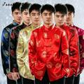 Тан Костюм Традиционный Китайский Clothing For Men Белье Жидкости Топы одежды Кунг-Фу Костюмы Человек Блузка Рубашка Hanfu Униформа Летом топы