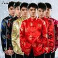 Tang traje tradicional chino clothing para hombres fluido lino tops ropa Kung Fu Trajes de Hombre Blusa Camisa Hanfu Verano Uniforme Tops