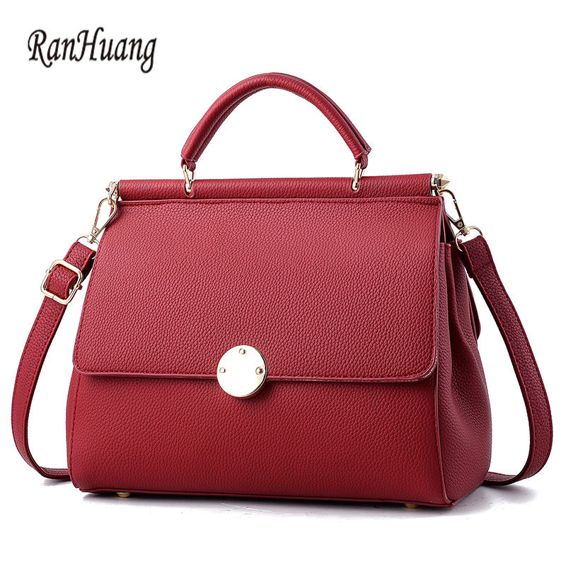 ФОТО RanHuang New 2017 Women Fashion Solid Handbags High Quality PU Leather Handbags Ladies Designer Shoulder Bags Messenger Bags 431