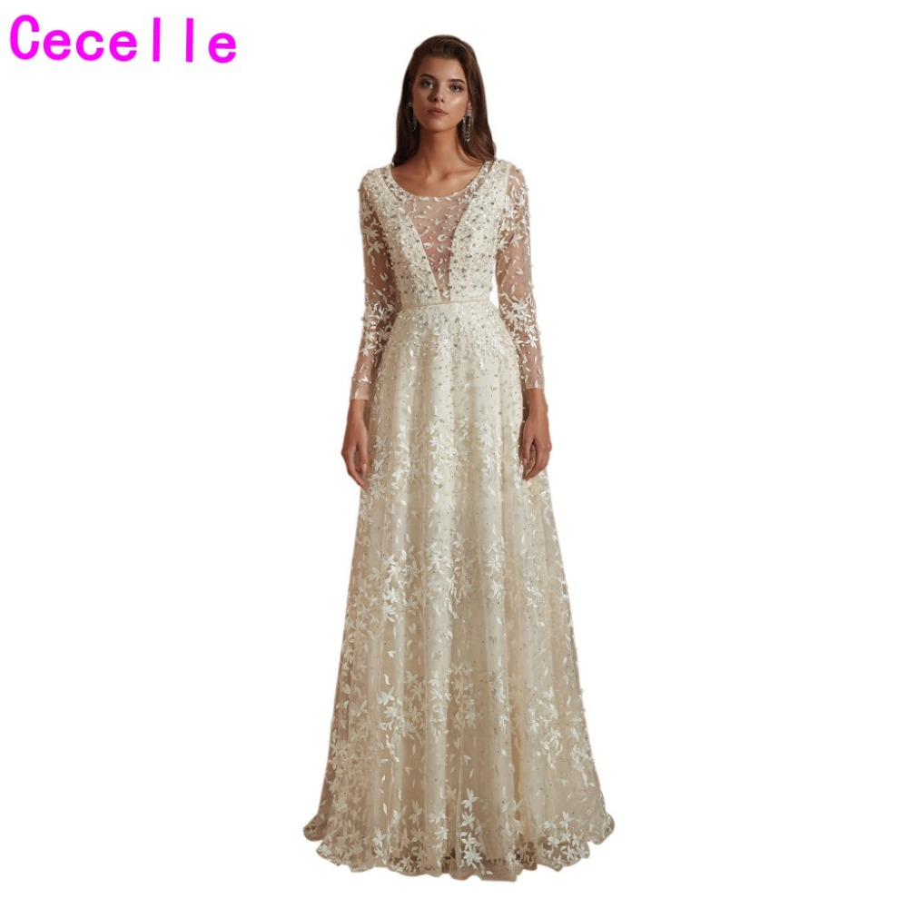 2019 New Cream Lace Long Evening Dresses With Long Sleeves Sexy Illusion Top Pearls Women Formal Evening Party Gowns Latest