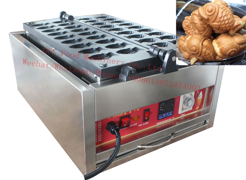 Free shipping cost to Chile by DHL 110v 220v Mini Taiyaki Maker Machine Goldfish Waffle maker 18 pcs / plate