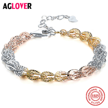 AGLOVER 925 Sterling Silver Colorful Bracelets Charm  Multi-Colorful Chain Fashion Jewelry For Women
