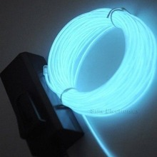 1pcs Hot Worldwied 3m Flexible EL Wire Rope Neon Light Glow With Controller For Party Dance Car Decor Blue Color
