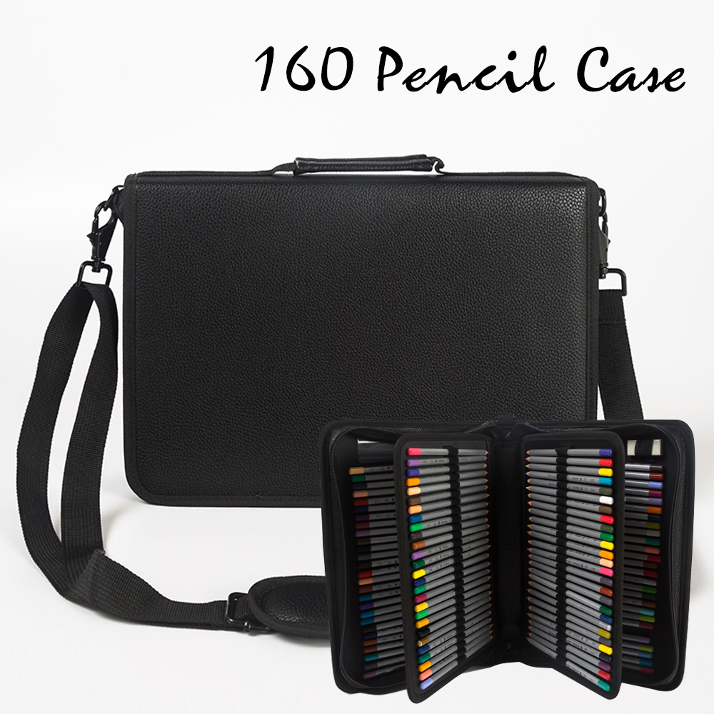 160 Hole Folding PU Leather School Pencils Case Large Capacity Portable Pencil Bag For Colored Pencil