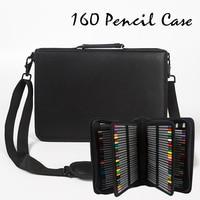 160 Hole Folding PU Leather School Pencils Case Large Capacity Portable Pencil Bag For Colored Pencil