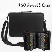 160 Hole Folding PU Leather School Pencils Case Large Capacity Portable Pencil Bag For Colored Pencil Gel Pen Case Art Supplies