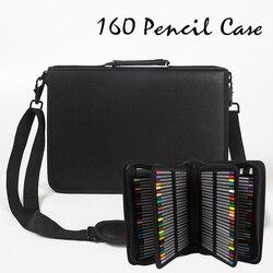 160 agujero plegable de cuero de la PU DE LA ESCUELA lápiz caso de gran capacidad portátil de bolsa de lápiz de color de lápiz de gel pluma arte suministros