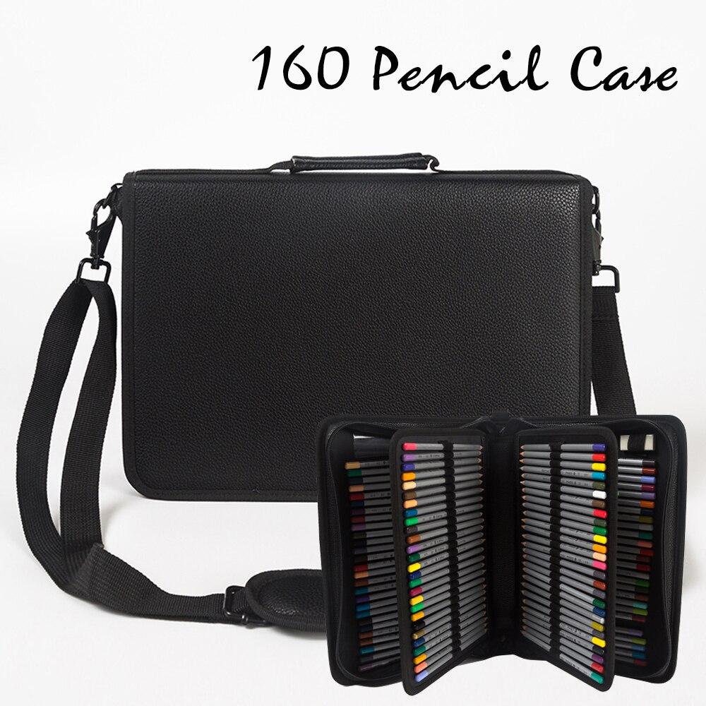 160 trou pliant PU cuir école crayons étui grande capacité Portable sac à crayons pour crayon de couleur Gel stylo étui fournitures d'art