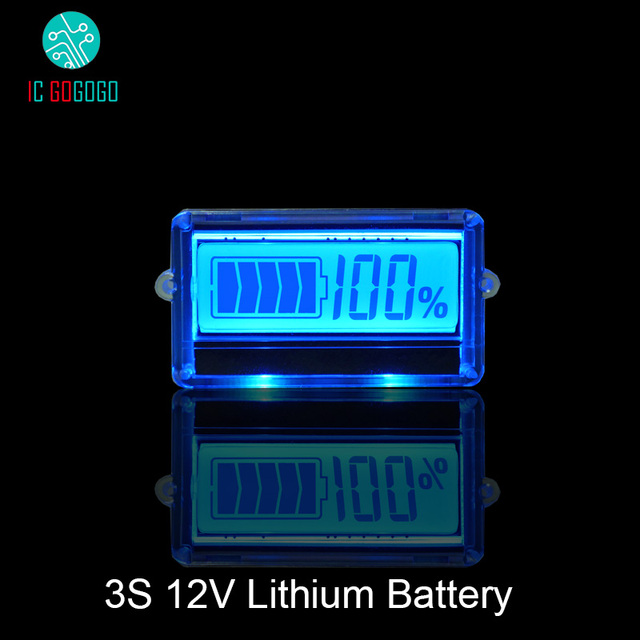 Medidor de capacidade de bateria de lítio, à prova d água th01 lcd 3s 12v indicador de capacidade de bateria de lítio azul lipo íon lítio testador medidor de dígito