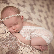 Newborn Baby Girls Boys Photo Props Jumpsuits Black White Props Baby Photography Props Rompers Lace Stretch Knit Rompers(China)