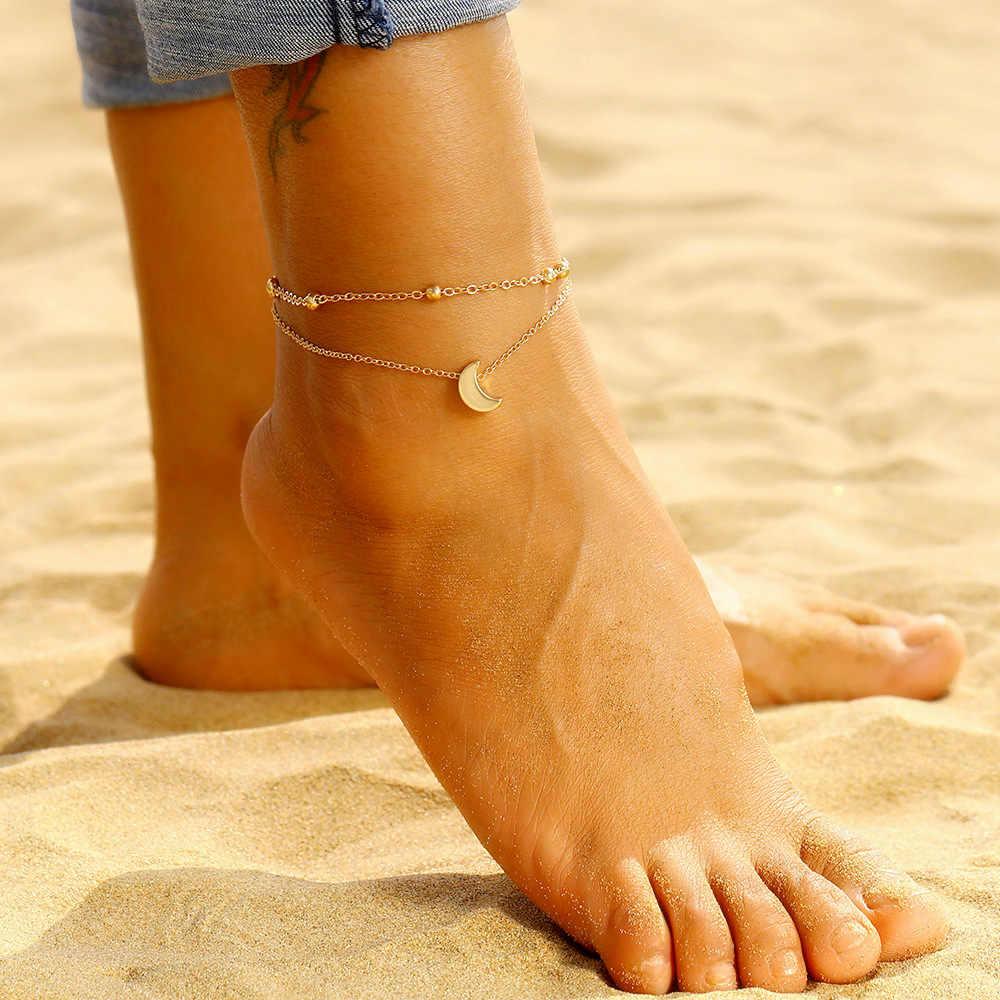 Proste modne koraliki łańcuszek na kostkę wisiorek z księżycem obrączki dla kobiet Summer Beach Barefoot bransoletka na kostkę na nogę Boho biżuteria na stopy