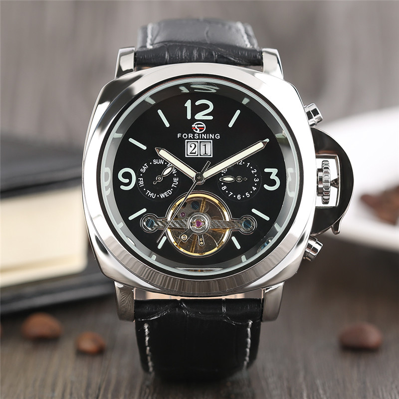 FORSINING High Quality Fashion Men Automatic Self-Wind Mechanical Wristwatch Genuine Leather Band Sport Style Male Watch Gift men s fashion style mechanical watch tourbillon wristwatch with leather band forsining