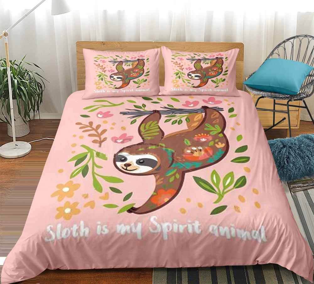 Cute Sloth Bedding Set Queen Size Sloth Duvet Cover For Girls Pink Cartoon Animals Bed Set Green Leaf Bed Linen 3-Piece