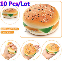 10Pcs/Lot 10CM Kawaii Jumbo Squishy Sesame Hamburger Cake Squeeze Bread Squishies Slow Rising Cute Pendant Charm Kid Toys Gift(China)
