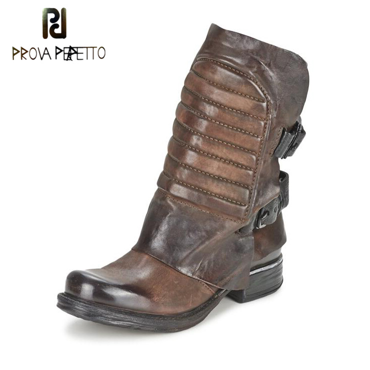 Prova Perfetto Genuine Leather Flat Bottom Buckle Ankle Boots Square Toe Mature Zipper Side Winter Warm Women Martin Boots prova perfetto fashion round toe low heel mid calf boots feminino buckle belt thick bottom genuine leather women s martin boots