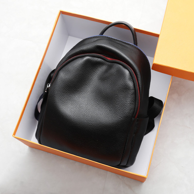 2019 Blue Red Chain Design Real Leather Women Bagpack Youth Girl Korean Fashion Soft Leather Cowhide Small Backpack Rugzak