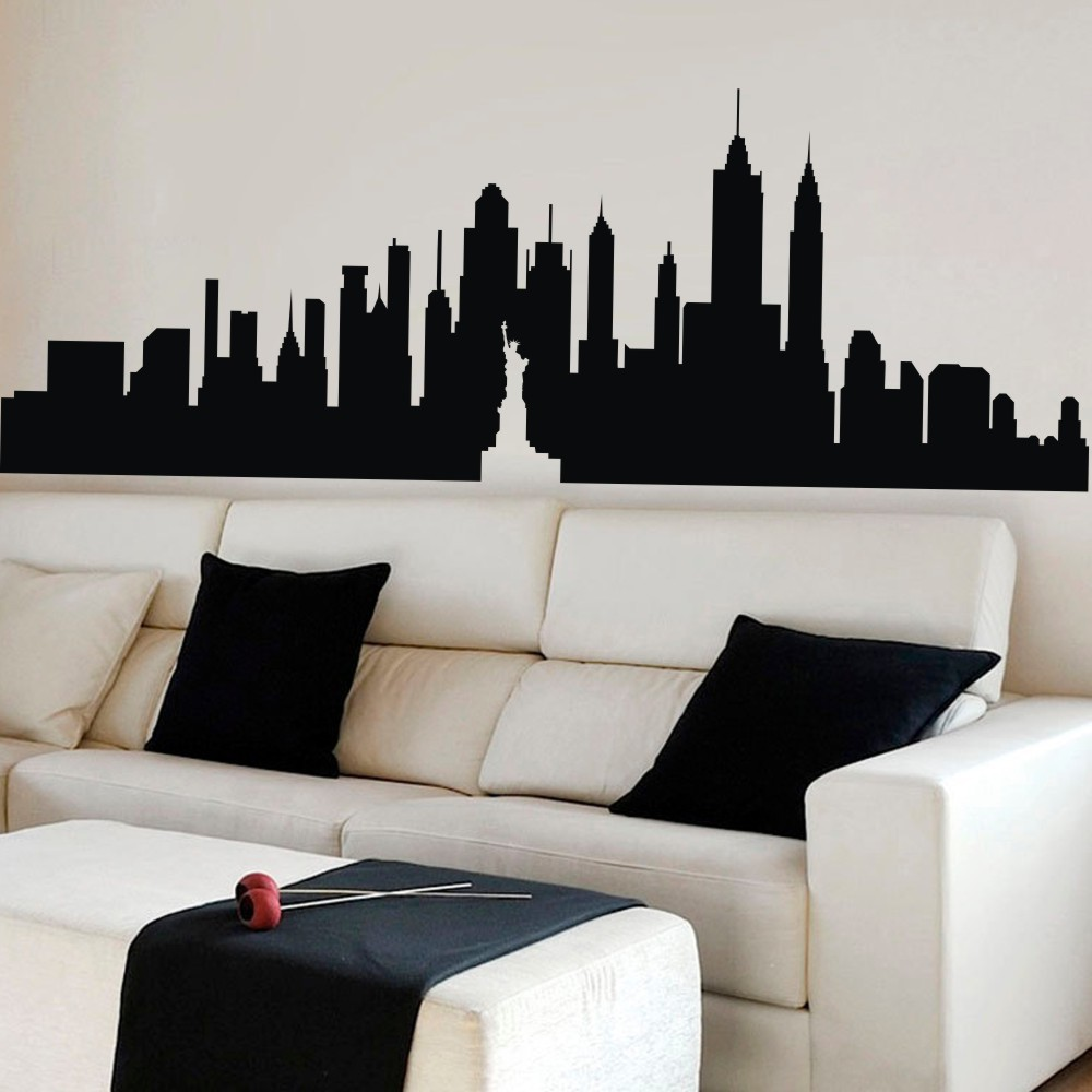 Aliexpress.com : Buy New York City Skyline Silhouette The Big Apple Wall  Sticker NYC Vinyl Wall Decal Art Home Decor Wall Graphic Mural 12 Part 60